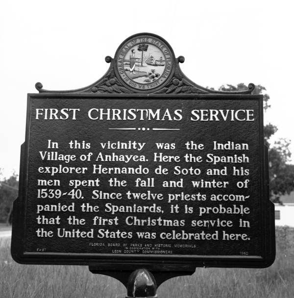Florida Memory - Historical marker for First Christmas Service - Tallahassee, Florida