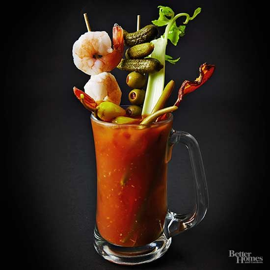 Leave the gigantic bottle of red stuff on the liquor store shelf. This bold, citrusy concoction, flavored with horseradish and lemon juice, will turn brunch on its head. (Prefer yours with clam-tomato juice? Click the link below to find our lime-spiked Bloody Caesar variation.)/