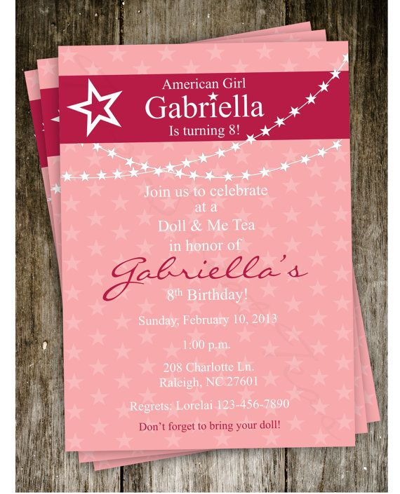 American Girl Doll Birthday Party Invitation Digital by 2SweetTeas, $15.00