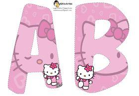 Alfabeto de Hello Kitty en fondo rosa.