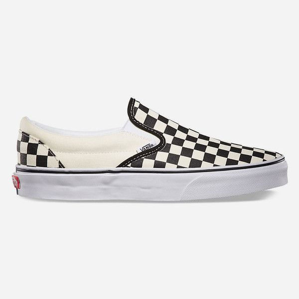 Vans Checkerboard Slip-On Shoes ($50) ❤ liked on Polyvore featuring men's fashion, men's shoes, mens slipon shoes, vans mens shoes and mens slip on shoes