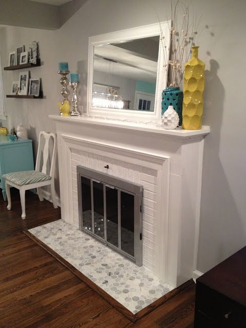 My First Tiling Project...our Hearth Re Tile! Fireplace Mantle Decorations Fireplace RedoFireplace HearthWhite ...