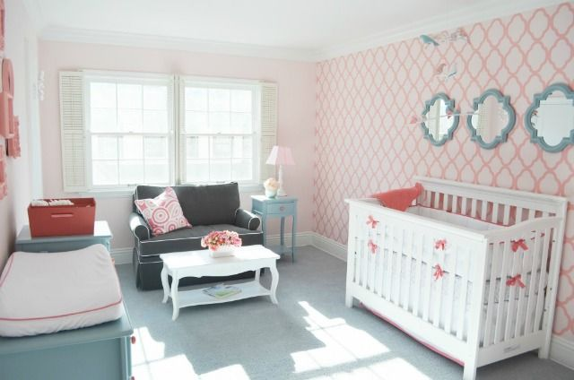 This stenciled accent wall makes such an amazing impact in this pink nursery! #nurseryAqua Nurseries, Colors Combos, Coral Nurseries, Girls Room, Baby Girls, Baby Room, Girls Nurseries, Accent Wall