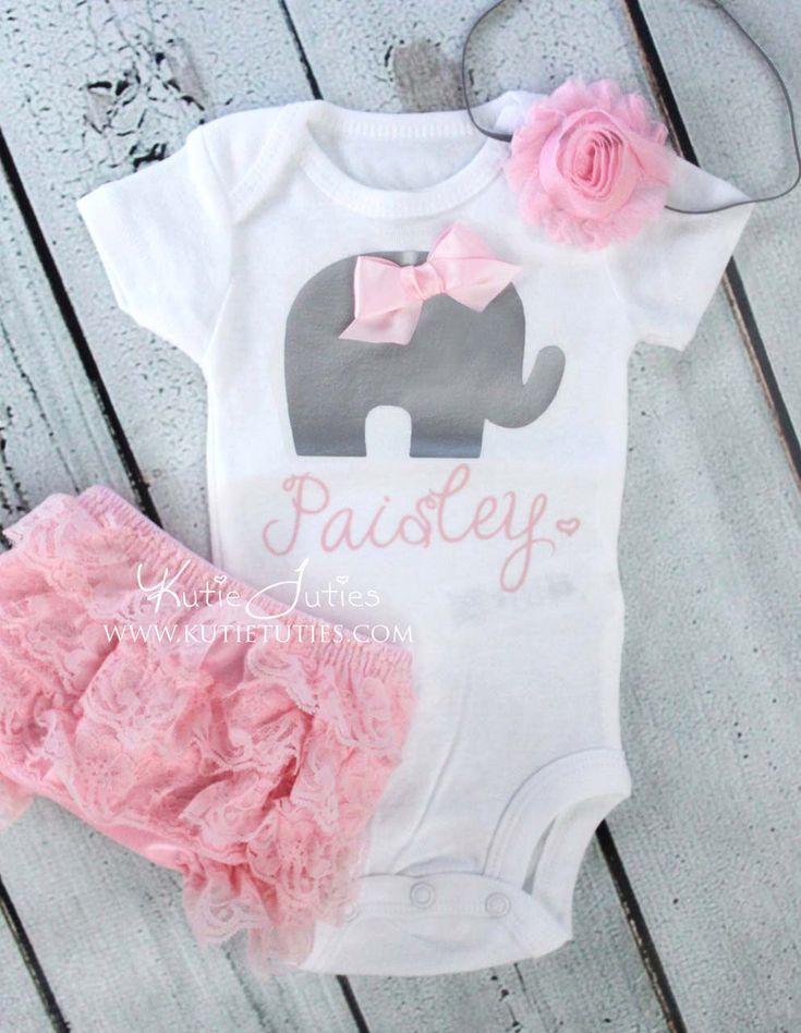 Elephant Onesie Set- Pink, Gray, Bloomer, Headband, name, personalized, baby girl, newborn, toddler, cake smash, birthday, bring home by KutieTuties on Etsy https://www.etsy.com/listing/231209826/elephant-onesie-set-pink-gray-bloomer