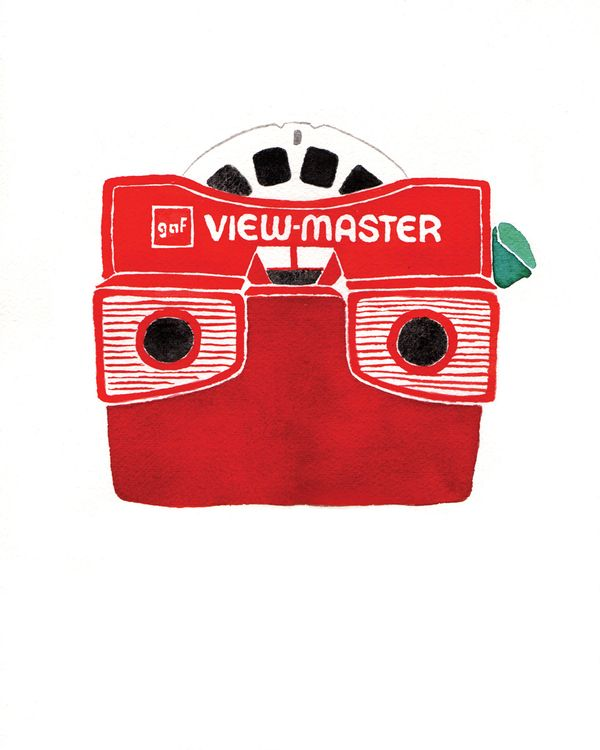 Viewmaster watercolor by Karen Kuryck