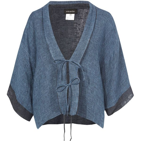 Eskandar Blue Shanghai Jacket (£460) ❤ liked on Polyvore featuring outerwear, jackets, summer kimono, linen jacket, blue jackets, eskandar and blue linen jacket