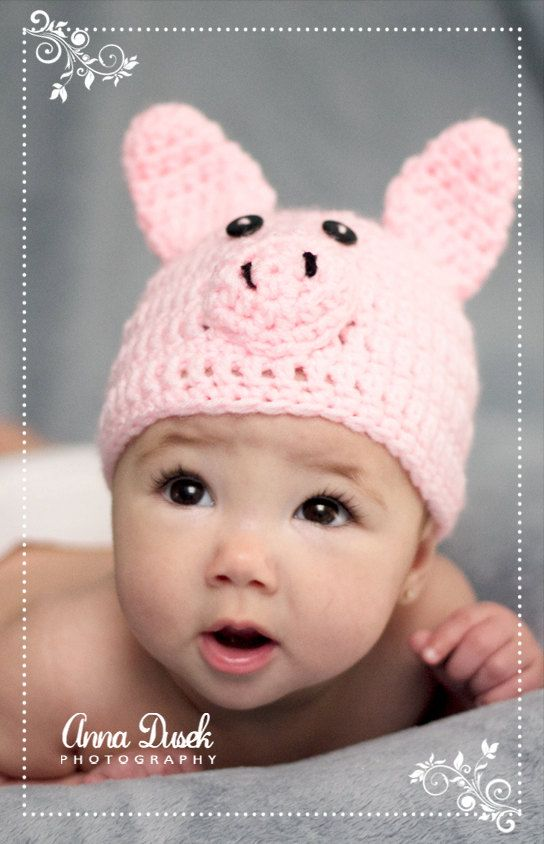 Crochet Baby Hat Beanie Little Pig Any Size by AnnaDusekCreations, $15.00