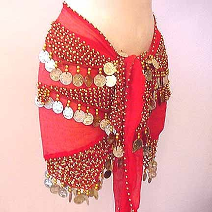 Shakira Style Red Belly Dance Wrap 3 Lines of Beads and Coins $19.99