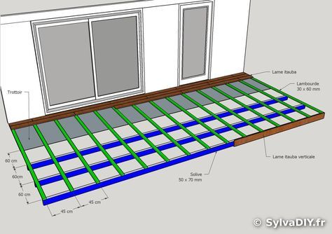 terrasse bois DIY plan sketchup vue ensemble solive lambourde lame itauba