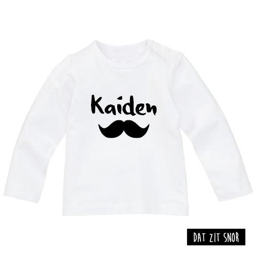 Baby shirt 'Snor'. #shirt #baby #snor #naam #eigennaam #zwartwit ***Dit product is door Studio Dat zit snor ontworpen en mag zonder toestemming niet gebruikt of gekopieerd worden (auteursrechtelijk beschermd)***