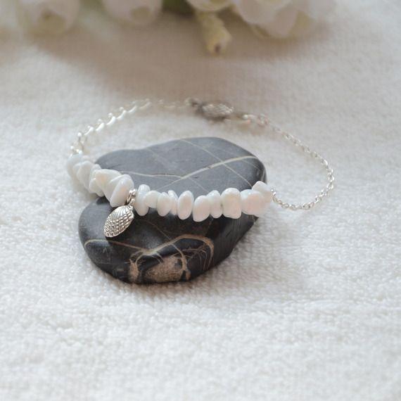 Bracelet Marbre Argentée blanche, bracelet réglable, bijoux de marbre