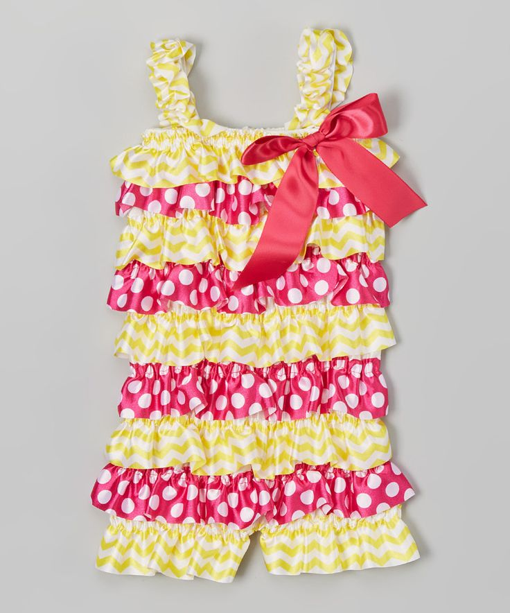 This Yellow & Pink Polka Dot Romper - Infant by Z Kids is perfect! #zulilyfinds