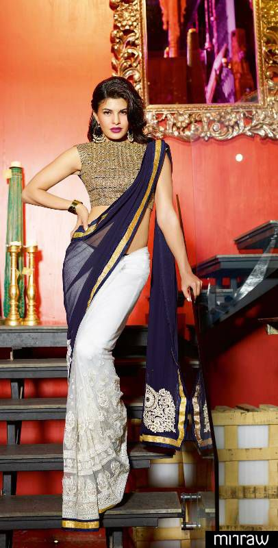 Jacquline fernandez in blue + off white saree.