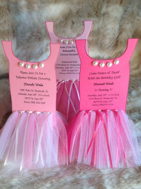 Ballerina Tutu Party InvitationSet Of 8 By ThePolkaDottedRoom