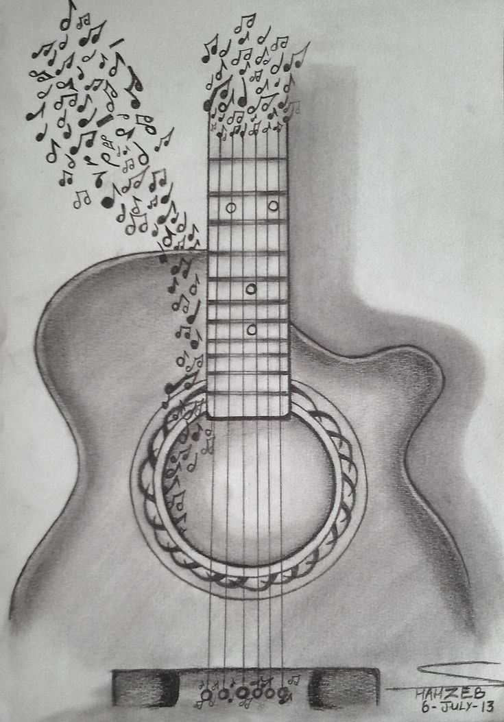 Easy pencil sketches of guitar picture gallery