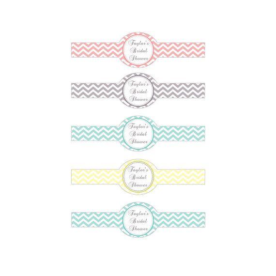 Printable Chevron Bridal Shower Napkin Ring Holder - Bridal Shower Party Favors Bridal Shower Decorations Bridal Shower Favors Bridal Custom