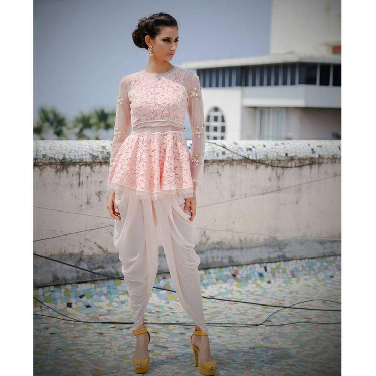 Peplum lace top and Dhoti pants