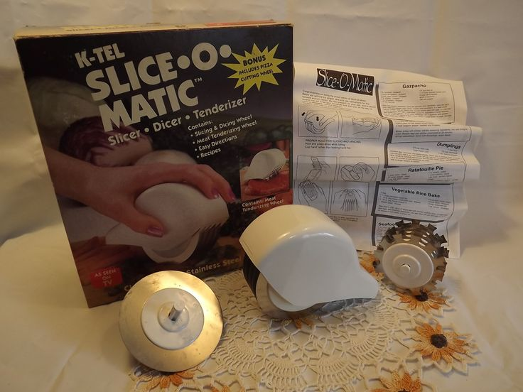 Vintage 1992 K-TEL Slice-O-Matic in Original Box, Slicer, Dicer, Tenderizer with Bonus Pizza Wheel, Klutzs Rejoice! No More Sliced Fingers! - pinned by pin4etsy.com