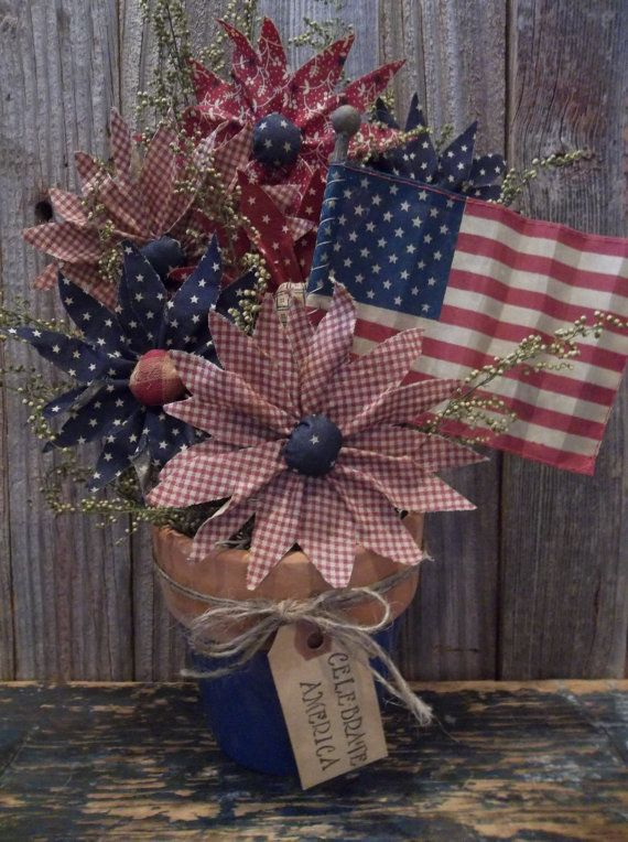 Americana flowers  Etsy listing at https://www.etsy.com/listing/188416331/gathering-of-primitive-americana-fabric