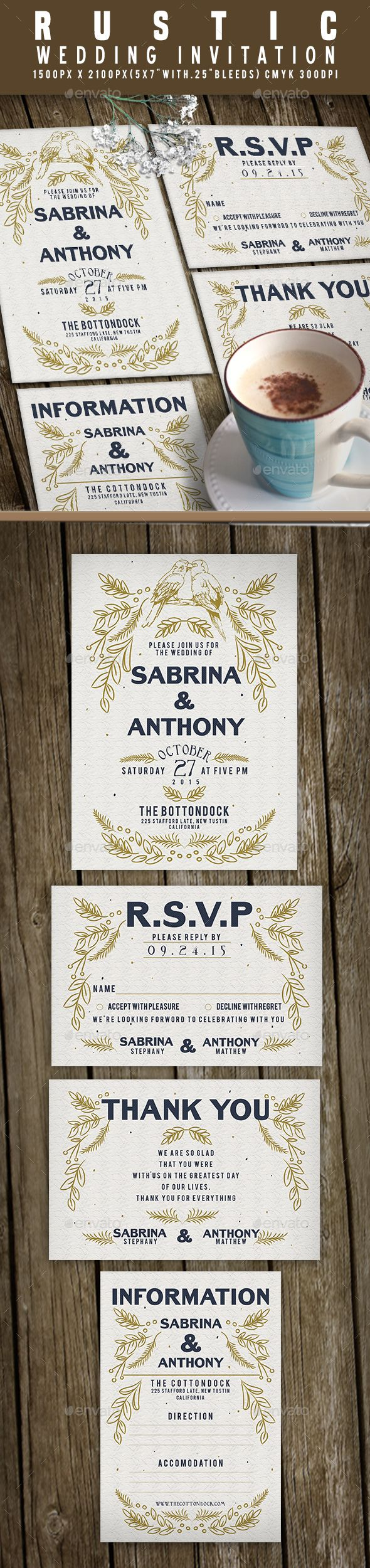 Wedding Invitation — PSD Template • Only available here ➝…