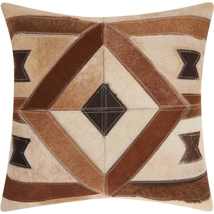 Mina Victory Dallas - Southwestern Centered Diamond Brown Throw Pillow