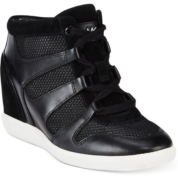 Michael Michael Kors Astrid High-Top Wedge Sneakers ($195) ❤ liked on Polyvore featuring shoes, sneakers, black, wedge trainers, black wedge sneakers, black trainers, high top sneakers and wedged sneakers