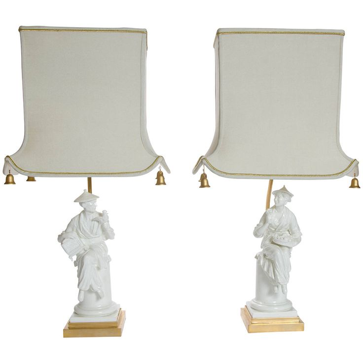 Pair Of Royal Worcester Chinoiserie Figural Lamps | Mid Century
