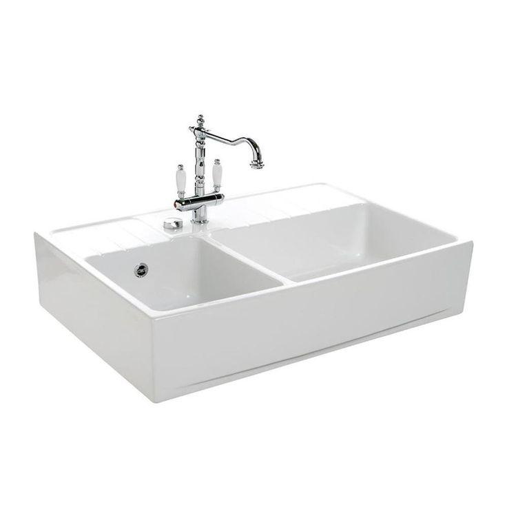 577 Vier Poser Cramique Chambord EKIO Blanc 2 Bacs Amazonfr Bricolage Sinks Pinterest