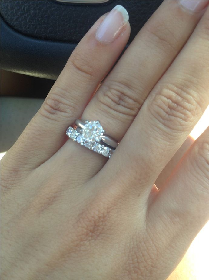 Show me your solitaire rings with an eternity diamond wedding band please. - Weddingbee | Page 5