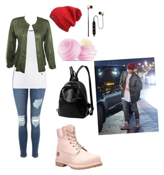 """style of jungkook (BTS) girl version😊"" by kehichabelle on Polyvore featuring Topshop, Vince, Timberland, Eos and Polaroid"