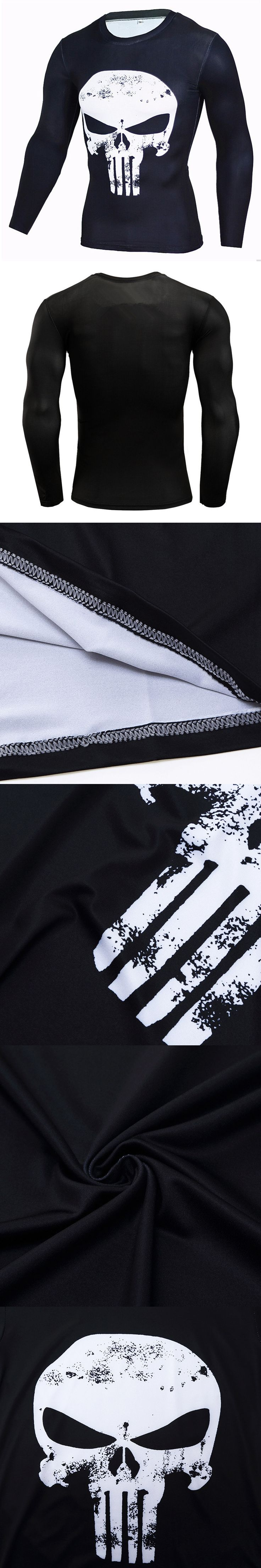 Punisher 3D Printed T-shirts Men Compression Shirts Long Sleeve Cosplay Costume crossfit fitness Clothing Tops Male Black skull