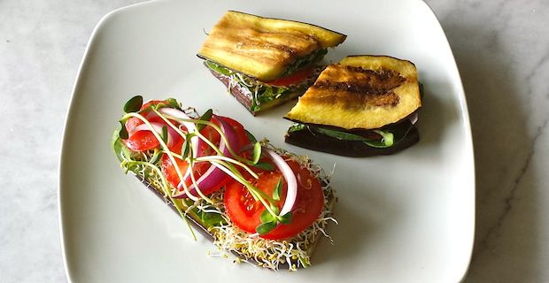 Vegetarian Eggplant 'Sandwich' with Sprouts and Hummus