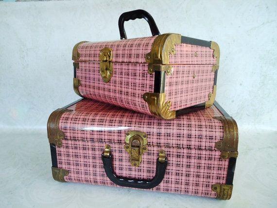 Pair of Pink Plaid Metal Cases, Vintage Pink Metal Train Case Luggage Set on Etsy, $149.00