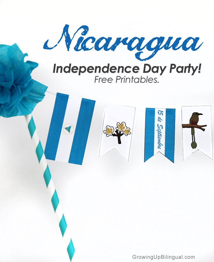 Nicaragua Independence Day Party : Free Printables! Cake banner, cupcake toppers and party printables. Celebra El Dia de la Independencia de Nicaragua! #HispanicHeritageMonth
