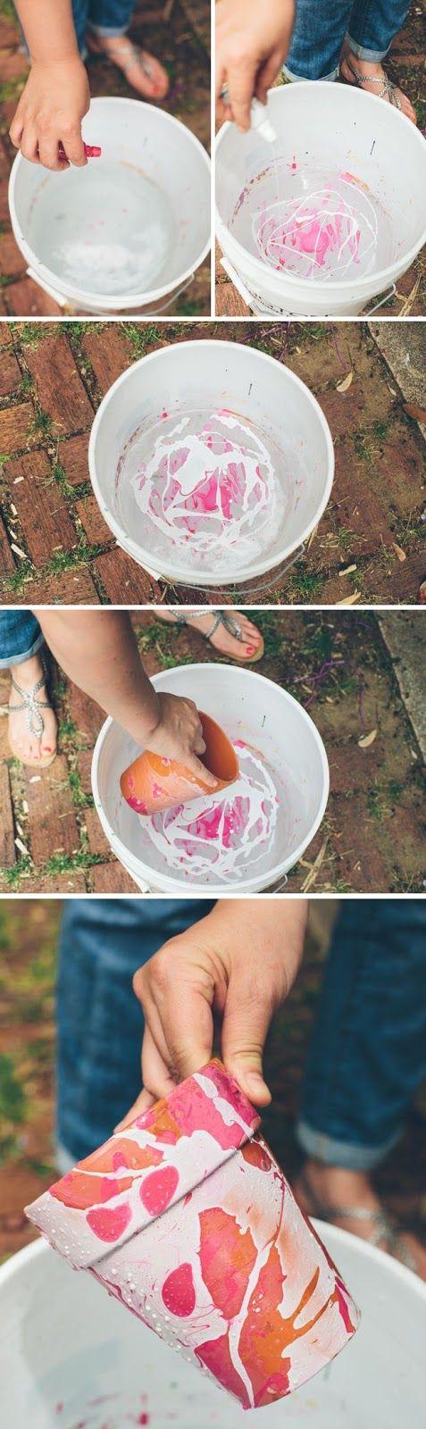 Creative Stuff: DIY Pots with Nail Polish Marbling