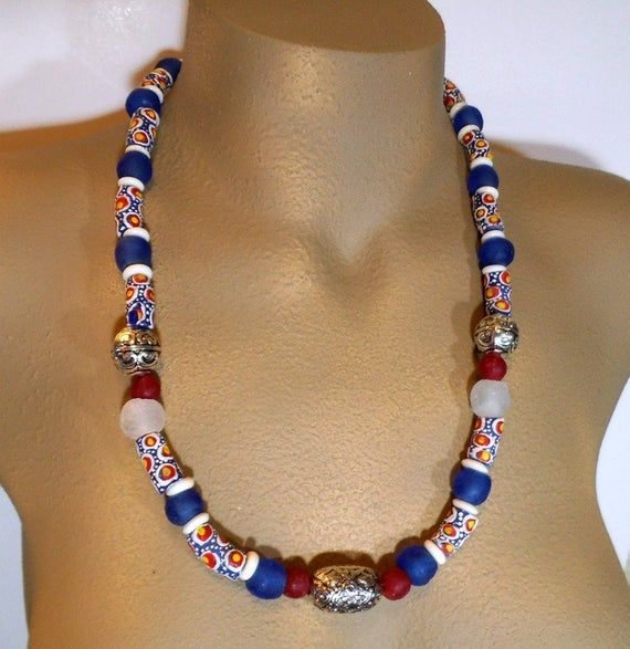 African Glass and Bone Handmade Bead Necklace Gorgeous Hand Painted Brass