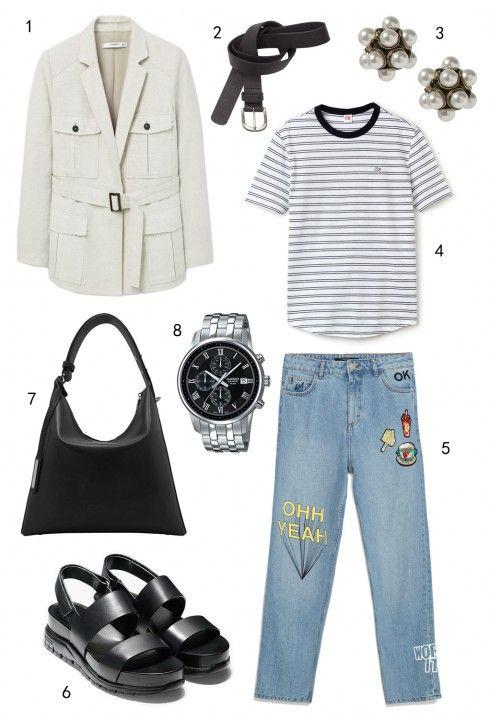 THỨ BẢY: 1 áo khoác Mango, 2 thắt lưng H&M, 3 hoa tai Banana Republic, 4 áo thun Lacoste, 5 quần jeans Zara, 6 sandals Cole Haan, 7 túi Pedro, 8 đồng hồ Casio.