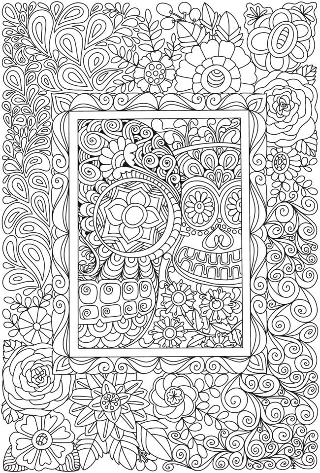 Creative Haven Eerie Entangled Art Coloring Book Dover Publications Skull Coloring Pages Pattern Coloring Pages Coloring Pages