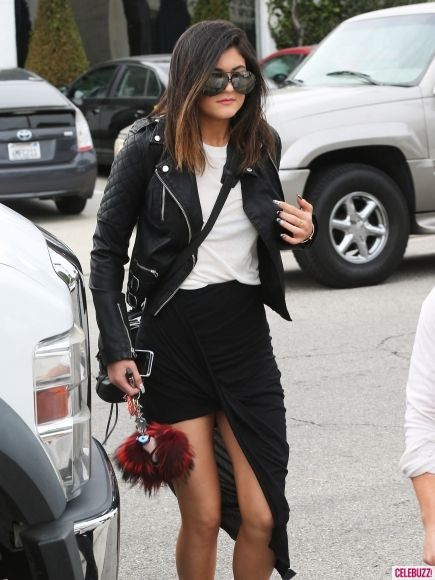 Kylie Jenner has the all the right basics in this black and white getup.