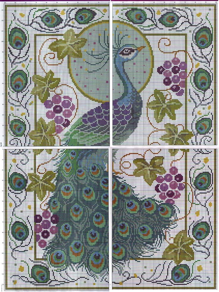 Peacock Cross Stitch Graph ... no color chart available, just use the pattern chart as your color guide..