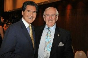 "Christopher Awards Master of Ceremonies Ernie Anastos with ""Blue Bloods"" star and Awards presenter Len Cariou"