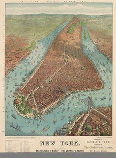 Vintage Infographic Map of Manhattan (1879)