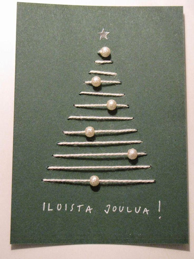 Kaunis yksinkertainen joulukortti helmikoristein