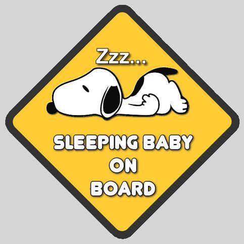 SNOOPY 'Sleeping Baby On Board' Sign