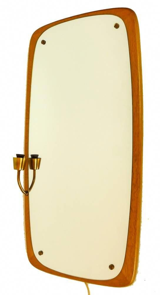 Vintage Spiegel Met Fifties Ronde Vormen In Prachtig Teakhout Zeldzaam Zweeds Exemplaar Met Messing Lamp Armatuur Vintage Mirror Led Lamp Scandinavian Design