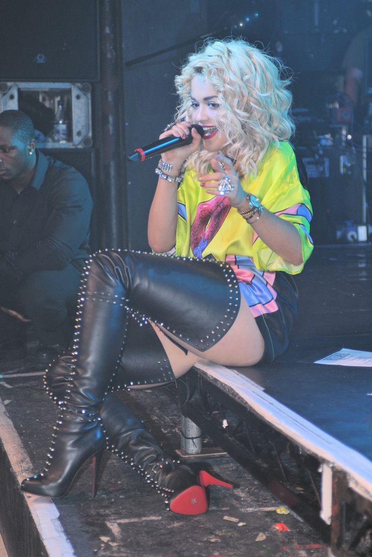Celebrities in Boots: Rita Ora in Christian Louboutin ...
