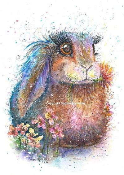 Bunny painting by Sophie Appleton £13.95 on the 'Art 4 SALE' page of www.sixfootsophie.co.uk