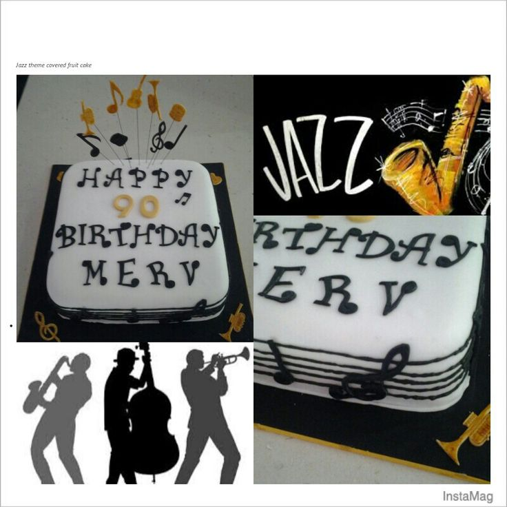 Jazz themed covered fruit cakes