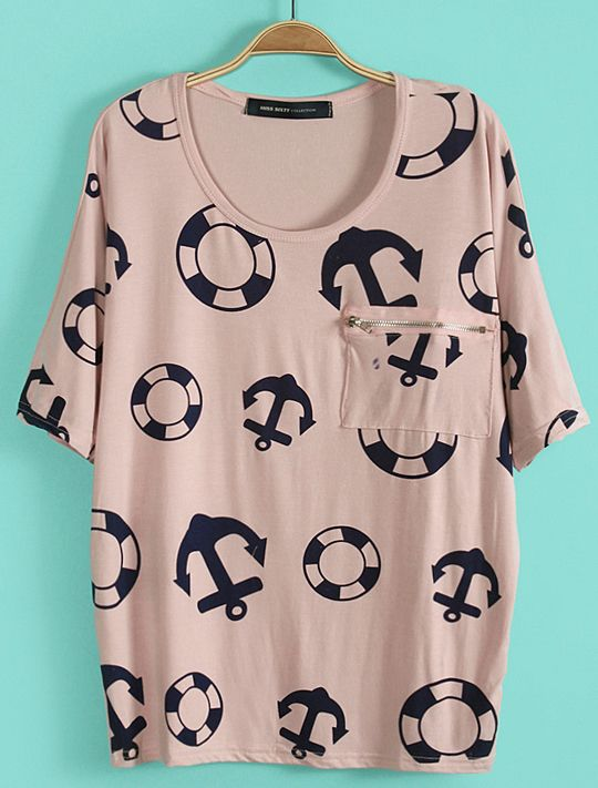 #SheInside Pink Batwing Sleeve Anchor Lifebuoy Print T-Shirt - Sheinside.com