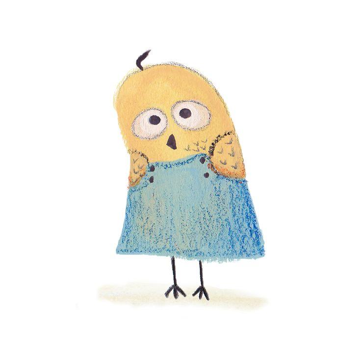 Sad owl character #illustration #sad #owl #mixedmedia